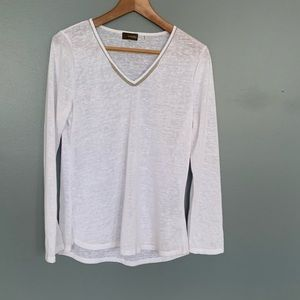 Crosby Sheer Studded Jewel Neck Sweater White M